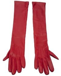 Guantes de cuero rojos de Lanvin