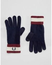 Guantes de lana azul marino de Fred Perry