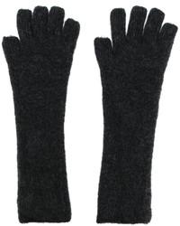 Guantes de lana en gris oscuro de Isabel Benenato