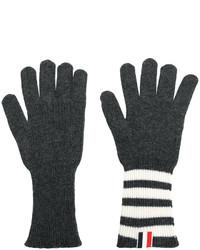Guantes de rayas horizontales en gris oscuro de Thom Browne