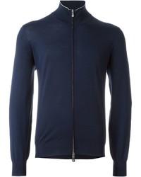 Jersey con cremallera azul marino de Brunello Cucinelli