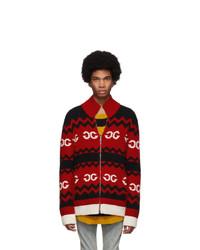 Jersey con cremallera de punto rojo de Gucci