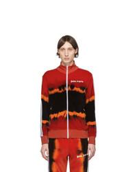 Jersey con cremallera efecto teñido anudado en rojo y negro de Palm Angels