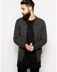 Jersey con cremallera en gris oscuro de Asos