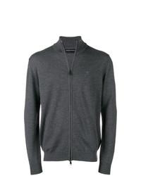 Jersey con cremallera en gris oscuro de Emporio Armani