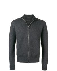 Jersey con cremallera en gris oscuro de Prada