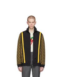 Jersey con cremallera estampado en marrón oscuro de Gucci