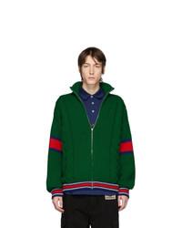 Jersey con cremallera verde oscuro de Gucci