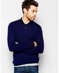 Jersey con cuello chal azul marino de Asos