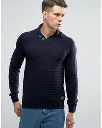 Jersey con cuello chal azul marino