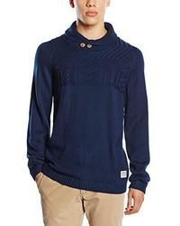 Jersey con cuello chal azul marino de Tom Tailor Denim