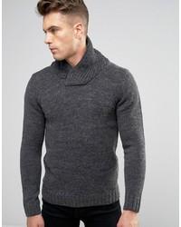 Jersey con cuello chal de punto en gris oscuro de Blend of America