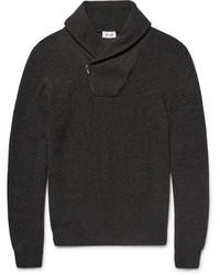 Jersey con cuello chal de punto en gris oscuro de Brioni