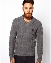 Jersey con cuello chal de punto en gris oscuro de The Kooples Sport