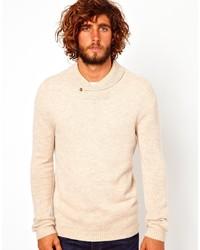 Jersey con cuello chal en beige de Asos