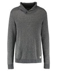 Jersey con cuello chal en gris oscuro de Jack & Jones