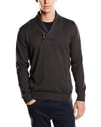 Jersey con cuello chal en gris oscuro de Tom Tailor