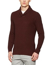 Jersey con cuello chal en marrón oscuro de Selected Homme