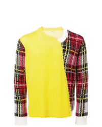 Jersey con cuello circular a cuadros en amarillo verdoso de R13