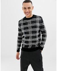 Jersey con cuello circular a cuadros en negro y blanco de ONLY & SONS