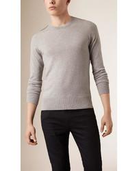 Jersey con cuello circular a cuadros gris