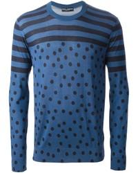 Jersey con cuello circular a lunares azul de Dolce & Gabbana