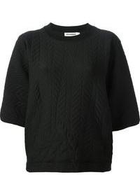 Jersey con cuello circular acolchado negro de Jil Sander