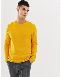 Jersey con cuello circular amarillo de Selected Homme