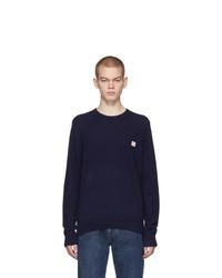 Jersey con cuello circular azul marino de Acne Studios
