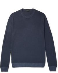 Jersey con cuello circular azul marino de Ermenegildo Zegna