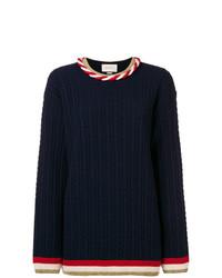 Jersey con cuello circular azul marino de Gucci