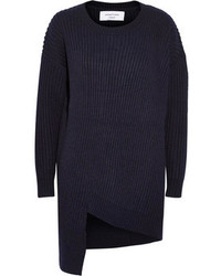 Jersey con cuello circular azul marino de Topshop