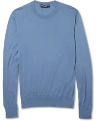 Jersey con cuello circular azul de Dolce & Gabbana