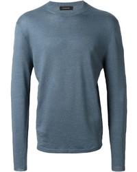 Jersey con cuello circular azul de Ermenegildo Zegna