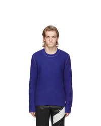 Jersey con cuello circular azul de Helmut Lang