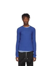 Jersey con cuello circular azul de Rick Owens