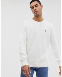 Jersey con cuello circular blanco de Polo Ralph Lauren