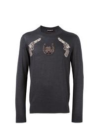 Jersey con cuello circular bordado en gris oscuro de Dolce & Gabbana
