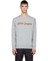 Jersey con cuello circular bordado gris de Palm Angels