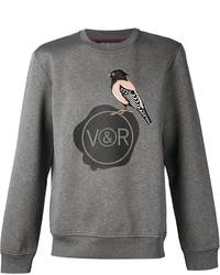 Jersey con cuello circular bordado gris de Viktor & Rolf