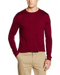 Jersey con cuello circular burdeos de Calvin Klein