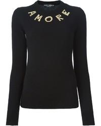 Jersey con cuello circular con adornos negro de Dolce & Gabbana