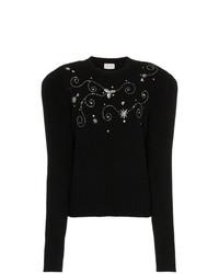 Jersey con cuello circular con adornos negro de Magda Butrym