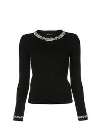 Jersey con cuello circular con adornos negro de Michael Kors Collection