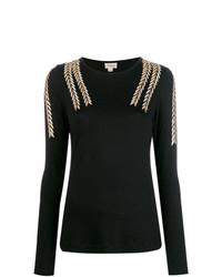 Jersey con cuello circular con adornos negro de Temperley London