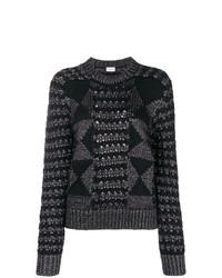 Jersey con cuello circular con estampado geométrico en gris oscuro de Saint Laurent