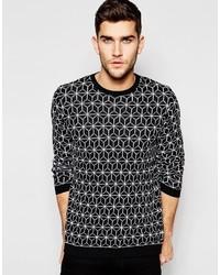 Jersey con cuello circular con estampado geométrico en negro y blanco de Asos
