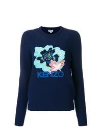 Jersey con cuello circular con print de flores azul marino de Kenzo