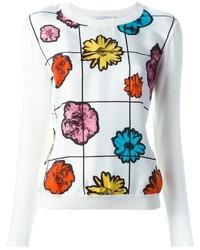 Jersey con cuello circular con print de flores blanco