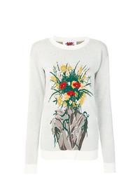 Jersey con cuello circular con print de flores blanco de Bad Deal